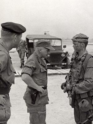 Lt. Gen. Stilwell talks to Meyer at CCN during inspection.